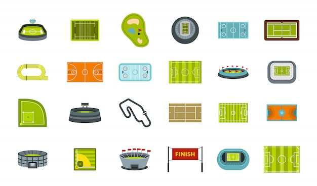スポーツアリーナのアイコンを設定します。分離されたスポーツアリーナベクトルアイコンコレクションのフラットセット