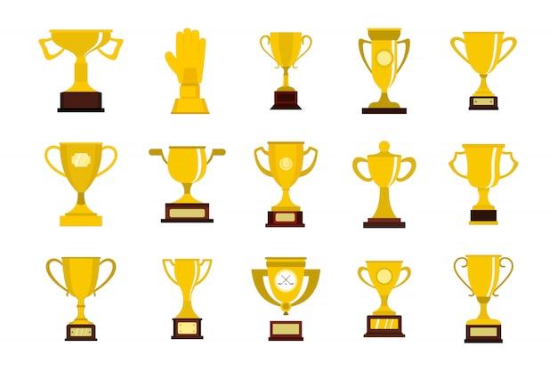 ゴールドカップのアイコンを設定します。分離されたゴールドカップベクトルアイコンコレクションのフラットセット