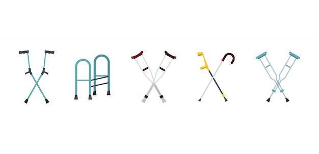 松葉杖のアイコンを設定します。フラットセット松葉杖ベクトルアイコンコレクション分離