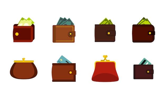 財布のアイコンを設定します。分離された財布ベクトルアイコンコレクションのフラットセット