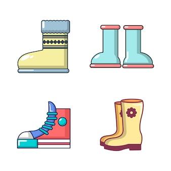 ブーツのアイコンを設定します。分離されたブーツベクトルアイコンコレクションの漫画セット