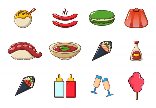 食品のアイコンを設定します。分離された食品ベクトルアイコンコレクションの漫画セット
