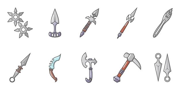 鋼の腕のアイコンを設定します。分離された鋼鉄腕ベクトルアイコンコレクションの漫画セット