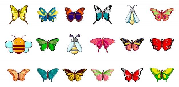 昆虫のアイコンを設定します。分離された昆虫ベクトルアイコンコレクションの漫画セット