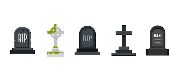 墓のアイコンを設定します。分離された墓ベクトルアイコンコレクションのフラットセット