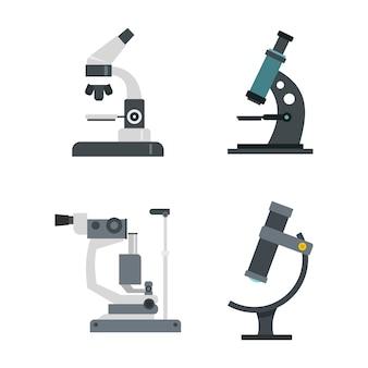 顕微鏡のアイコンを設定します。分離された顕微鏡ベクトルアイコンコレクションのフラットセット