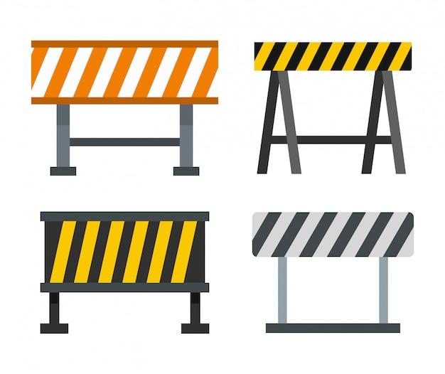 道路障壁のアイコンを設定します。分離された道路障壁ベクトルアイコンコレクションのフラットセット