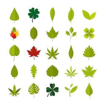 葉のアイコンを設定します。分離された葉ベクトルアイコンコレクションのフラットセット