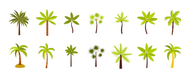 Набор иконок пальмовое дерево. плоский набор пальмовых векторных иконок коллекции изолированных