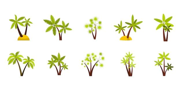 二重ヤシの木のアイコンを設定します。分離された二重ヤシの木ベクトルアイコンコレクションのフラットセット