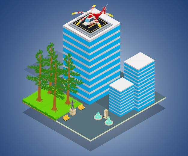 ビジネスセンターコンセプトバナー、アイソメ図スタイル