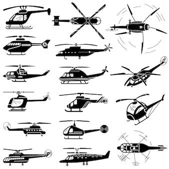 ヘリコプターのアイコンセット、シンプルなスタイル