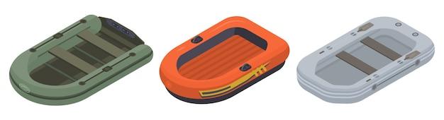 インフレータブルボートのアイコンセット、アイソメ図スタイル