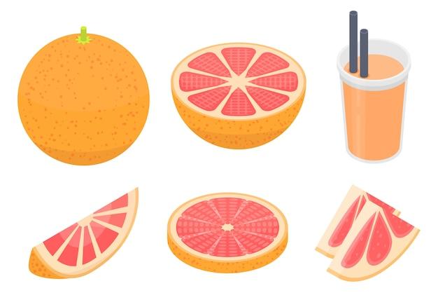 グレープフルーツのアイコンセット、アイソメ図スタイル