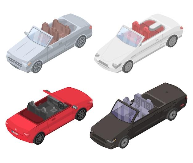 カブリオレの車のアイコンセット、アイソメ図スタイル