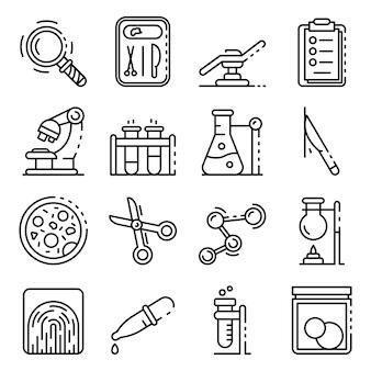 Набор иконок судебно-медицинской лаборатории, стиль контура