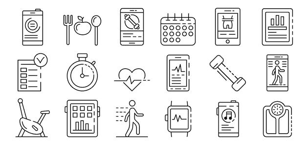 Приложения для фитнеса набор иконок, стиль контура