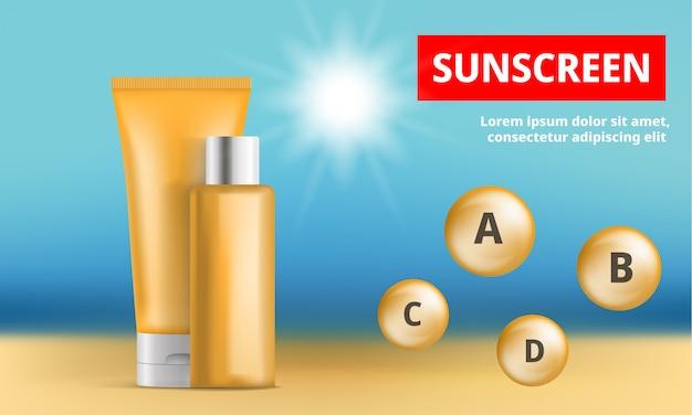 Солнцезащитный крем защиты концепции фон