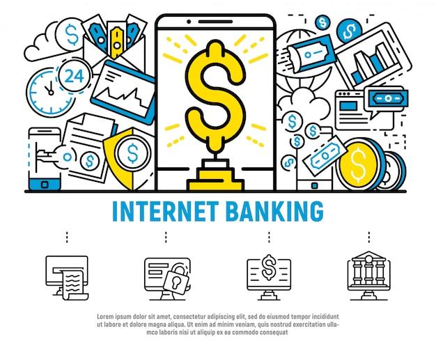 Деньги интернет-банкинг концепции фон, стиль контура