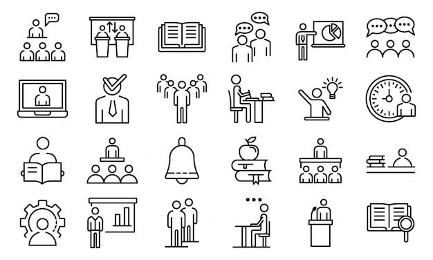 Набор иконок лекционного класса, стиль контура