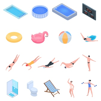 Установленные значки оборудования бассейна. изометрические набор оборудования для бассейна векторные иконки для веб-дизайна на белом фоне