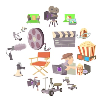 映画館のシンボルアイコンセット、漫画のスタイル