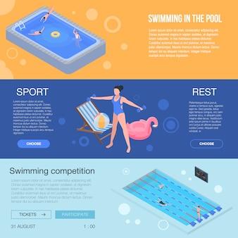 Комплект баннеров для бассейна. изометрические набор оборудования бассейна вектор баннер для веб-дизайна