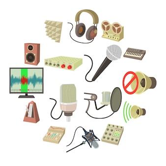 レコーディングスタジオのシンボルアイコンセット、漫画のスタイル