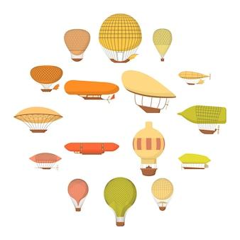 飛行船風船アイコンセット、漫画のスタイル