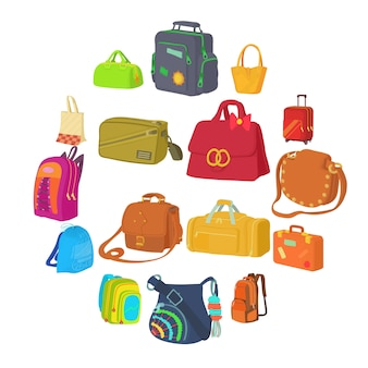 バッグの種類アイコンセット、フラットスタイル