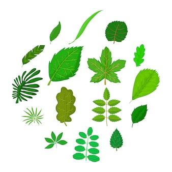 緑の葉のアイコンセット、漫画のスタイル