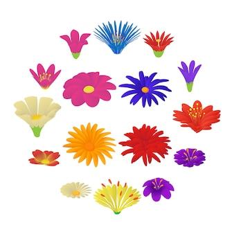 詳細な花のアイコンを設定、漫画のスタイル