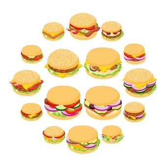 ハンバーガーの古典的なアイコンセット、アイソメ図スタイル