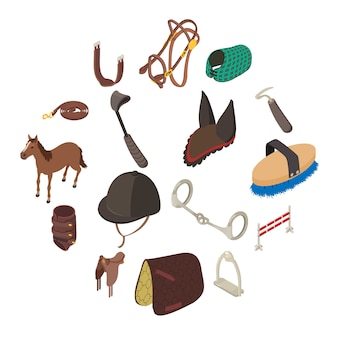 馬スポーツ用品のアイコンセット、アイソメ図スタイル