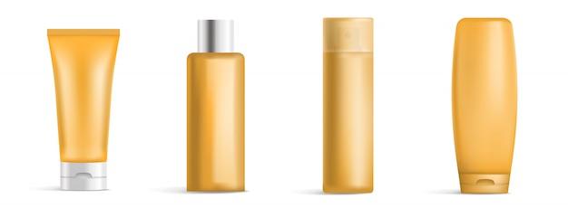 Набор иконок солнцезащитный крем, реалистичный стиль