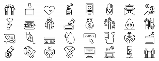 Набор иконок пожертвований, стиль контура