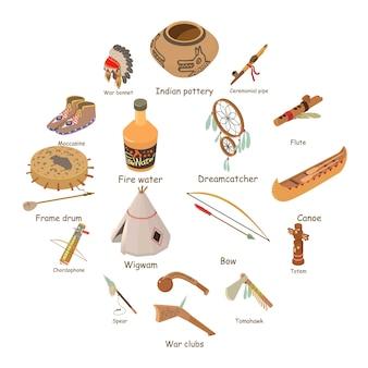 インディアンのエスニックアメリカンのアイコンセット、アイソメ図スタイル