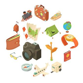 旅行の旅のアイコンセット、アイソメ図スタイル