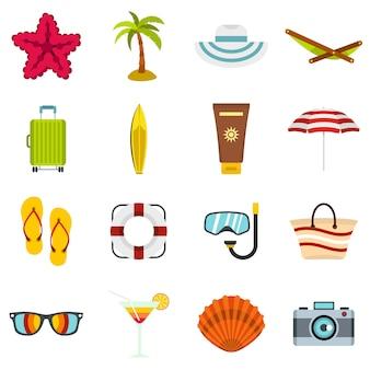 Летний отдых набор плоских иконок
