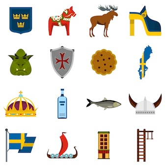 スウェーデン旅行設定フラットアイコン