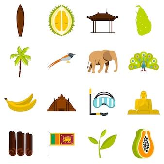 スリランカ旅行セットフラットアイコン