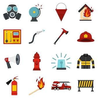 消防士ツールセットフラットアイコン