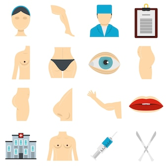 Набор иконок пластического хирурга в плоском стиле