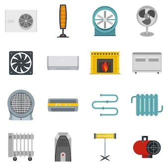 Набор иконок для нагрева охлаждающего воздуха в плоском стиле