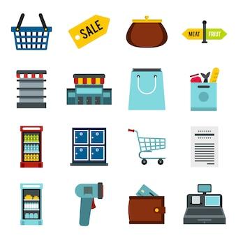スーパーマーケットのアイコンセット、フラットスタイル