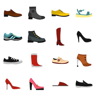 Набор иконок обуви в плоском стиле
