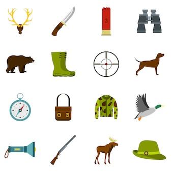 Набор иконок для охоты в плоском стиле