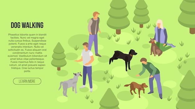 犬のウォーキングコンセプトバナー、アイソメ図スタイル