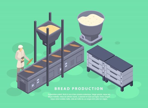 パン生産コンセプトバナー、アイソメ図スタイル