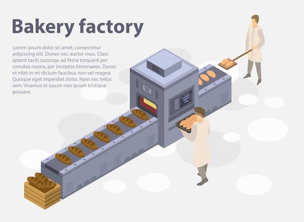 ベーカリー工場コンセプトバナー、アイソメ図スタイル